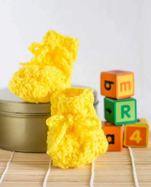 Baby Booties with mini granny squares
