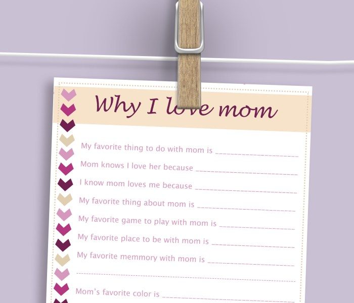 Mother's Day Free Printable For Kids