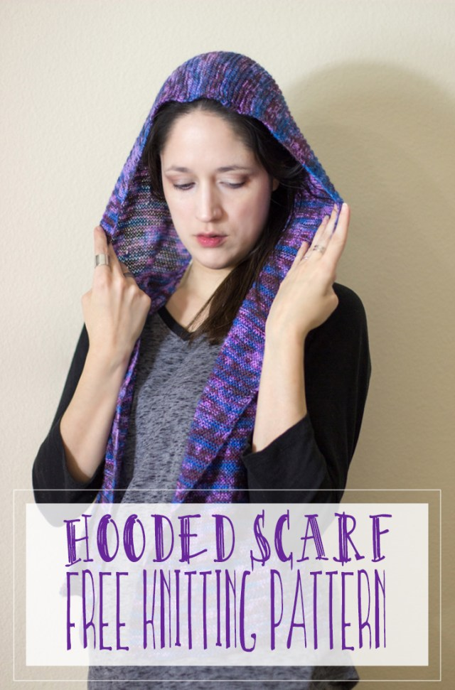Hooded Scarf Free Knitting Pattern. (hoodie scarf) Great knitting project to stay warm during the winter months to come. Hoodie scarf knitting project.