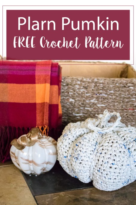 Plarn Pumpkin Free Crochet Pattern. Perfect size for a centerpiece. But still big enough if you would like to use it to decorate your patio or porch.
