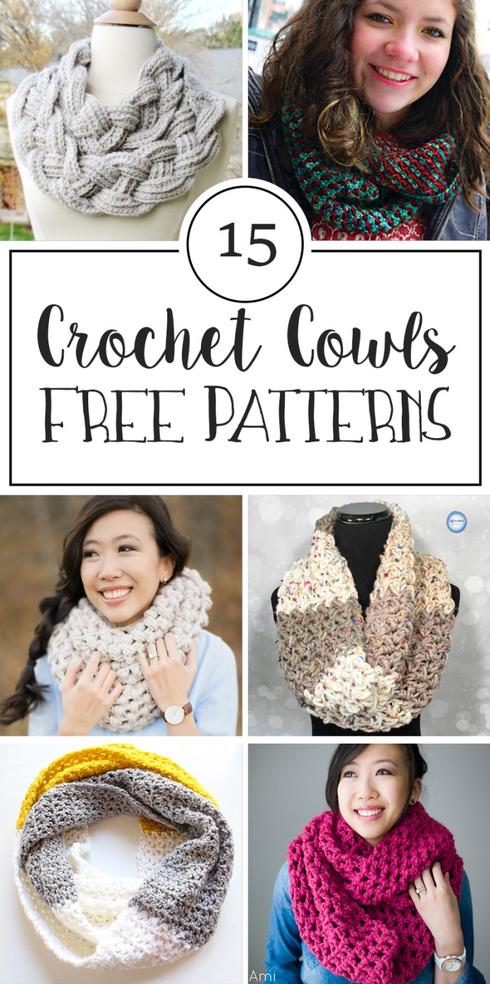15 Free Patterns for Crochet Cowls - Crafty Tutorials
