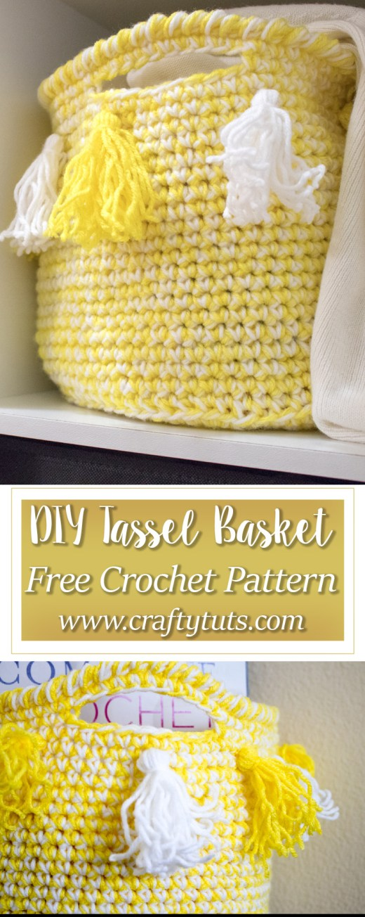 DIY Crochet Tassel Basket Free Pattern 1