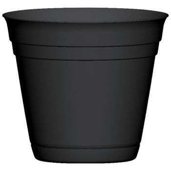 Garden Treasures 12-in W x 10.5-in H Black Smooth Plastic Planter