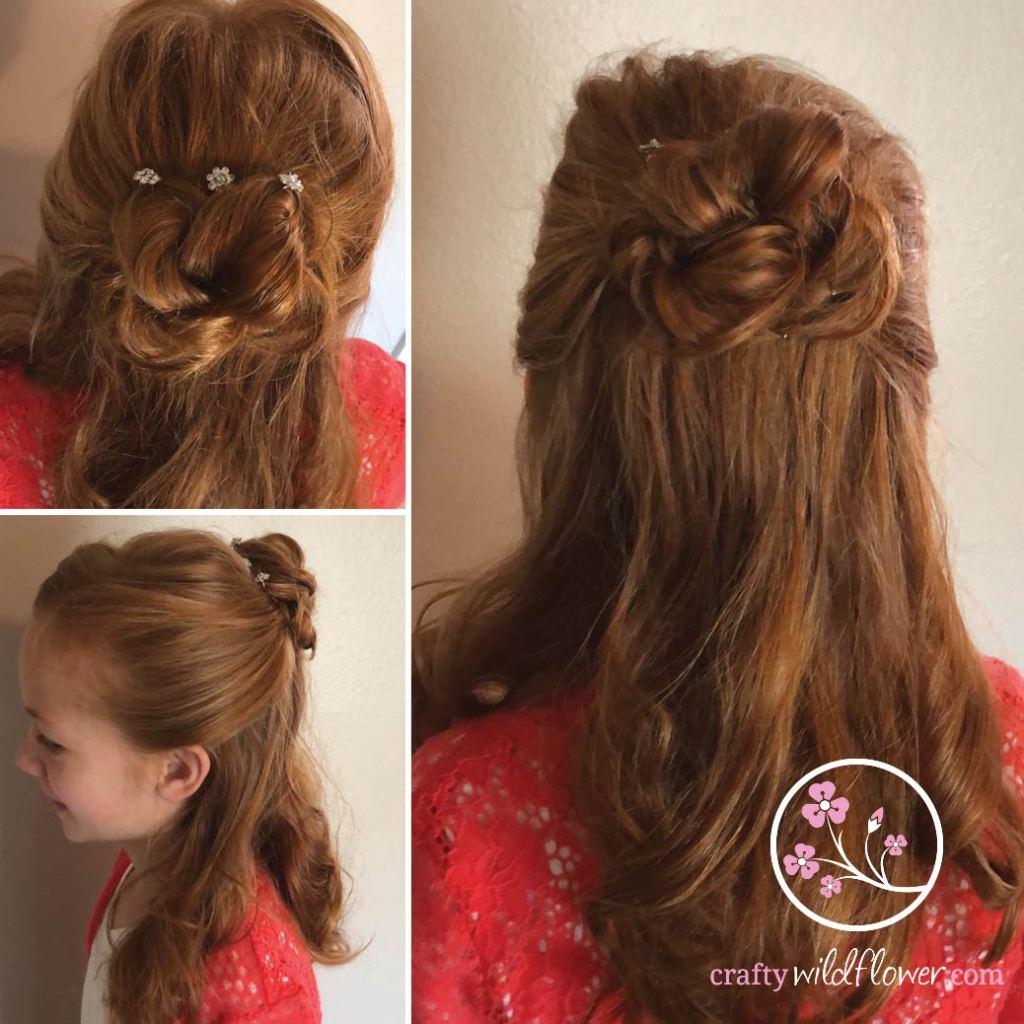 Half up twisted bling bun tutorial