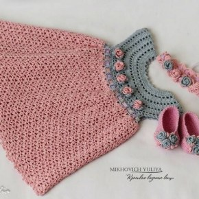 Crochet Grey and Pink Baby Dress