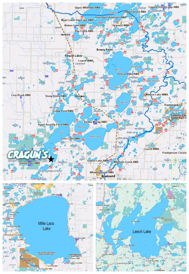Brainerd MN Lakes Map Amp Details Craguns Resort