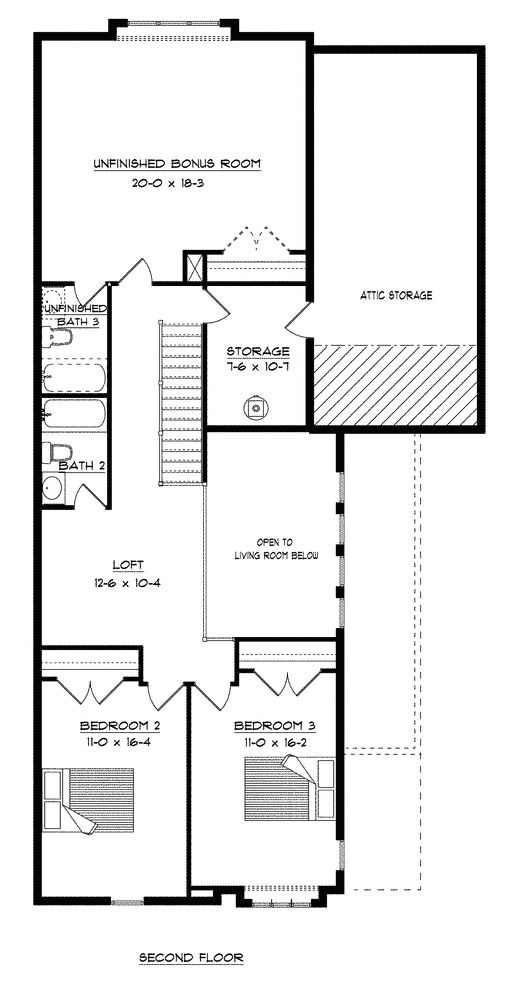 Craig Builders second floor floor plan for the Villager Courtyard home plan