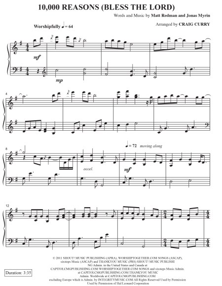 10,000 Reasons Sheet Music p1