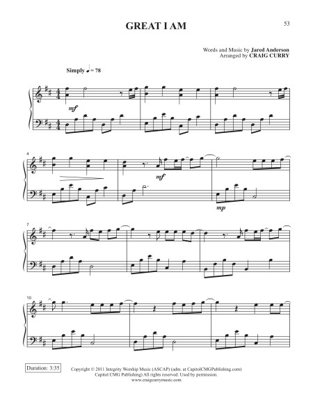 Great I Am Piano Sheet Music