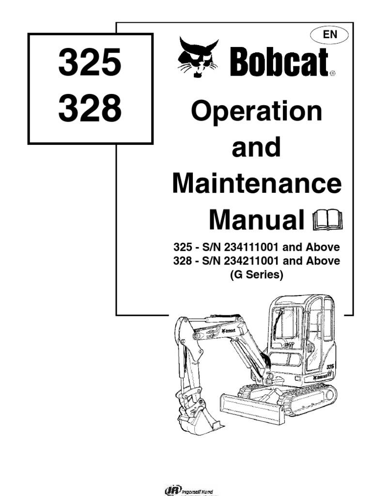Bobcat 325 excavator service manual free download