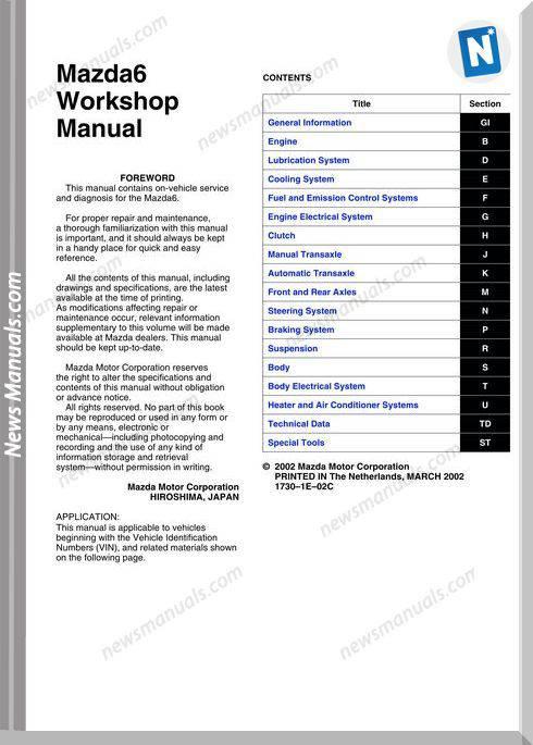 Mazda 6 diesel workshop manual download