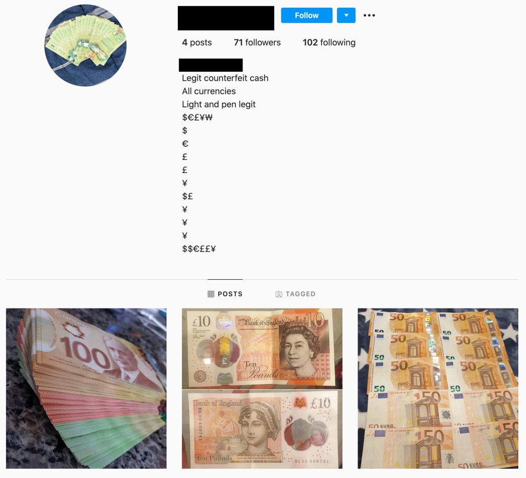 fake cash seller on instagram