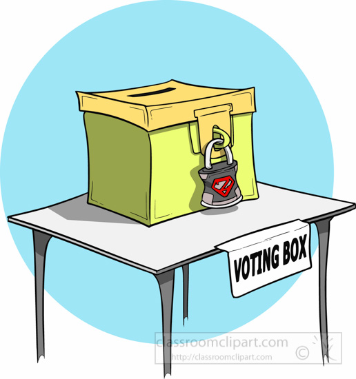 Voting Box With Pad Lock Clipart