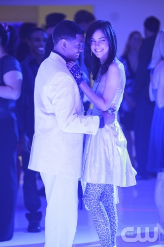 "Tristan Wilds as Dixon Wilson and Jessica Stroup as Erin ""Silver"" Silver"