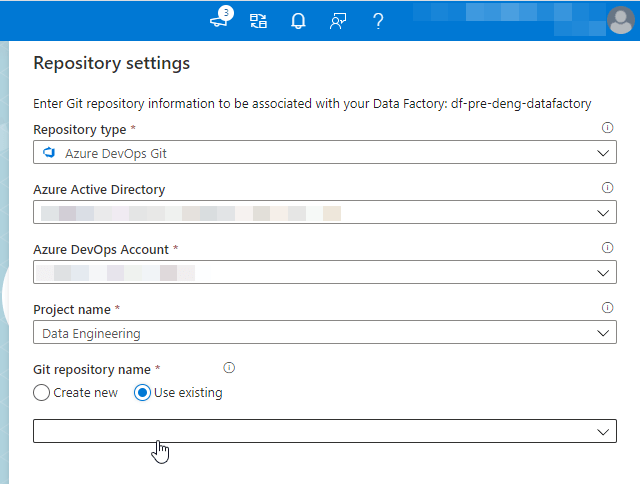 Azure Data Factory repository settings