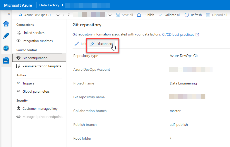 Azure Data Factory git configuration disconnection