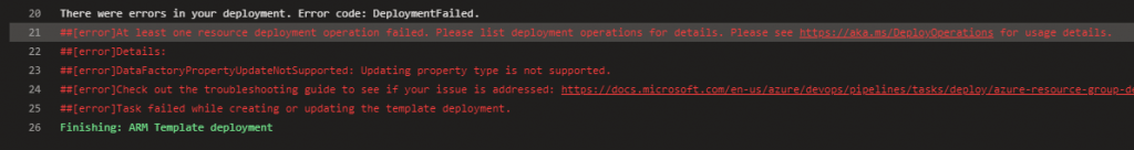 ARM template deployment failure due to linked IR