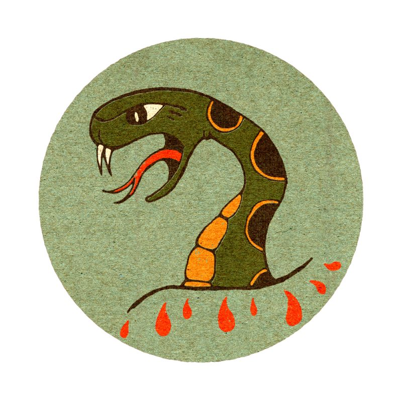 Snake Matchbook Tattoo Flash