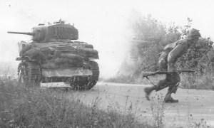 Tank and infantryman
