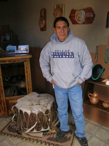 Christopher Lujan fashions drums in the manner of his forefathers at Taos Pueblo.