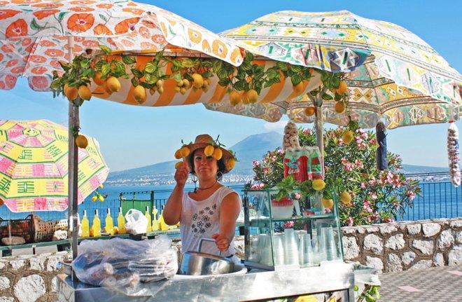 Lemon lady on Amalfi Coast of Italy