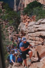 Even the most strenuous trails at Zion National Park are crowded during peak season. (Craig Davis/Craigslegztravels.com)