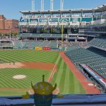 BeBop the Craigslegz Travel Alien visits the pressbox at Progressive Field in Cleveland during the Indians pennant-winning season in 2016. (Craig Davis/Craigslegztravels.com)
