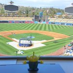 BeBop the Craigslegz Travel Alien overlooking one of Major League Baseball's premier vistas at Dodger Stadium in Los Angeles. (Craig Davis/Craigslegztravels.com)