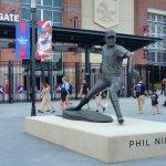Statue of Hall-of-Fame knuckleball pitcher Phil Niekro outside Atlanta's SunTrust Park. (Craig Davis/Craigslegztravels.com)
