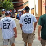 Yankees fans at Jupiter's Roger Dean Stadium when their team visits the Marlins for an exhibition game. (Craig Davis/Craigslegztravels.com)
