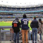 Fans of the Marlins and Yankees show their allegiance before a game at Yankee Stadium in April 2018. (Craig Davis/Craigslegztravels.com)