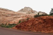 The slickrock appears scored and sculpted along the Zion-Mt. Carmel Highway in Utah. (Craig Davis/Craigslegztravels.com)