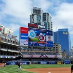 The scoreboard at Petco Park in San Diego as players prepare for a game in 2016. (Craig Davis/Craigslegztravels.com)