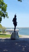 The statue of Massasoit, overlooking Plymouth Rock portico, honors the leader of the Wampanoag tribe who aided the Pilgrims. (Craig Davis/Craigslegztravels.com)