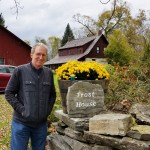 With Bebop at the Robert Frost Stone House Museum in Shaftsbury, Vt. (Fran Davis/CraigslegzTravels.com)
