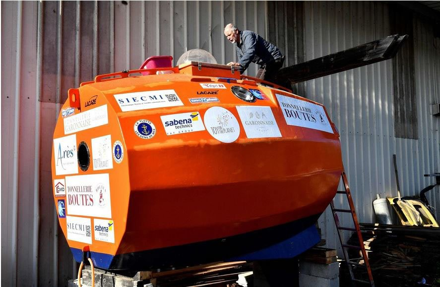 Jean-Jacques Savin, a 71-year-old Frenchman, is attempting to float across the Atlantic Ocean in a barrel-shaped vessel.