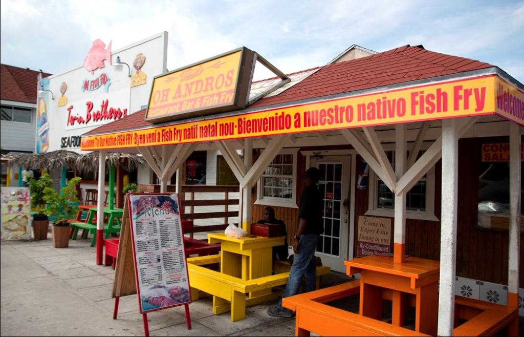 The Fish Fry area on Arawak Cay is known for colorful eateries servicing traditional Bahamian food and drinks.