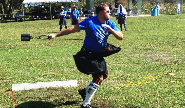 Throwing the weight competition at the 2019 SE Florida Scottish Festival and Highland Games. (Craig Davis/craigslegztravels.com)