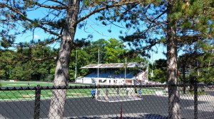 The grandstand at Chagrin Falls High School stadium was built for the Cuyahoga Fairgrounds in 1913. (Craig Davis/Craigslegztravels.com)