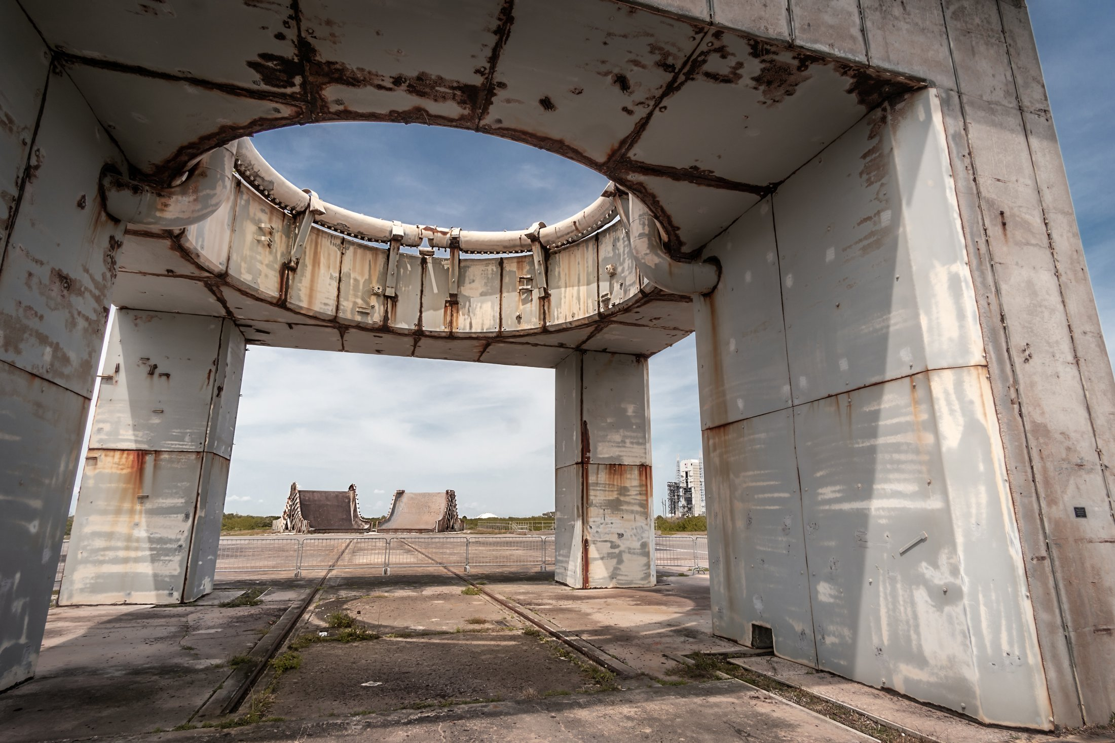 The remains of the launch pedestal at pad 34, where the Apollo 1 crew died, is not far from launch complex 37B in use today by United Launch Alliance. (Glenn Davis/Craigslegztravels.com)