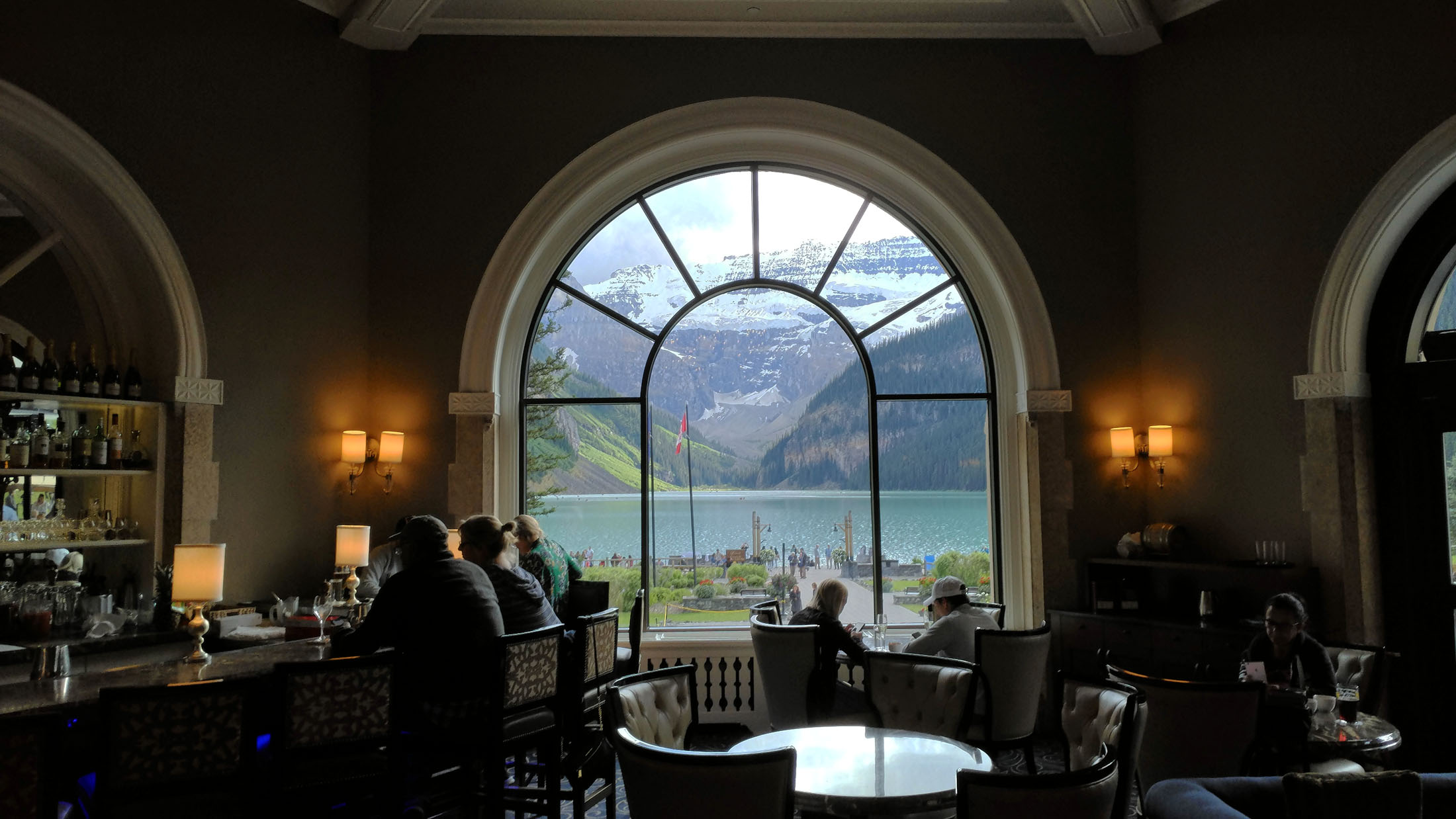 The Lakeside Lounge at the Lake Louise Fairmont Chateau is the perfect place for Happy Hour after summer sightseeing or winter skiing. (Craig Davis/craigslegztravels.com)