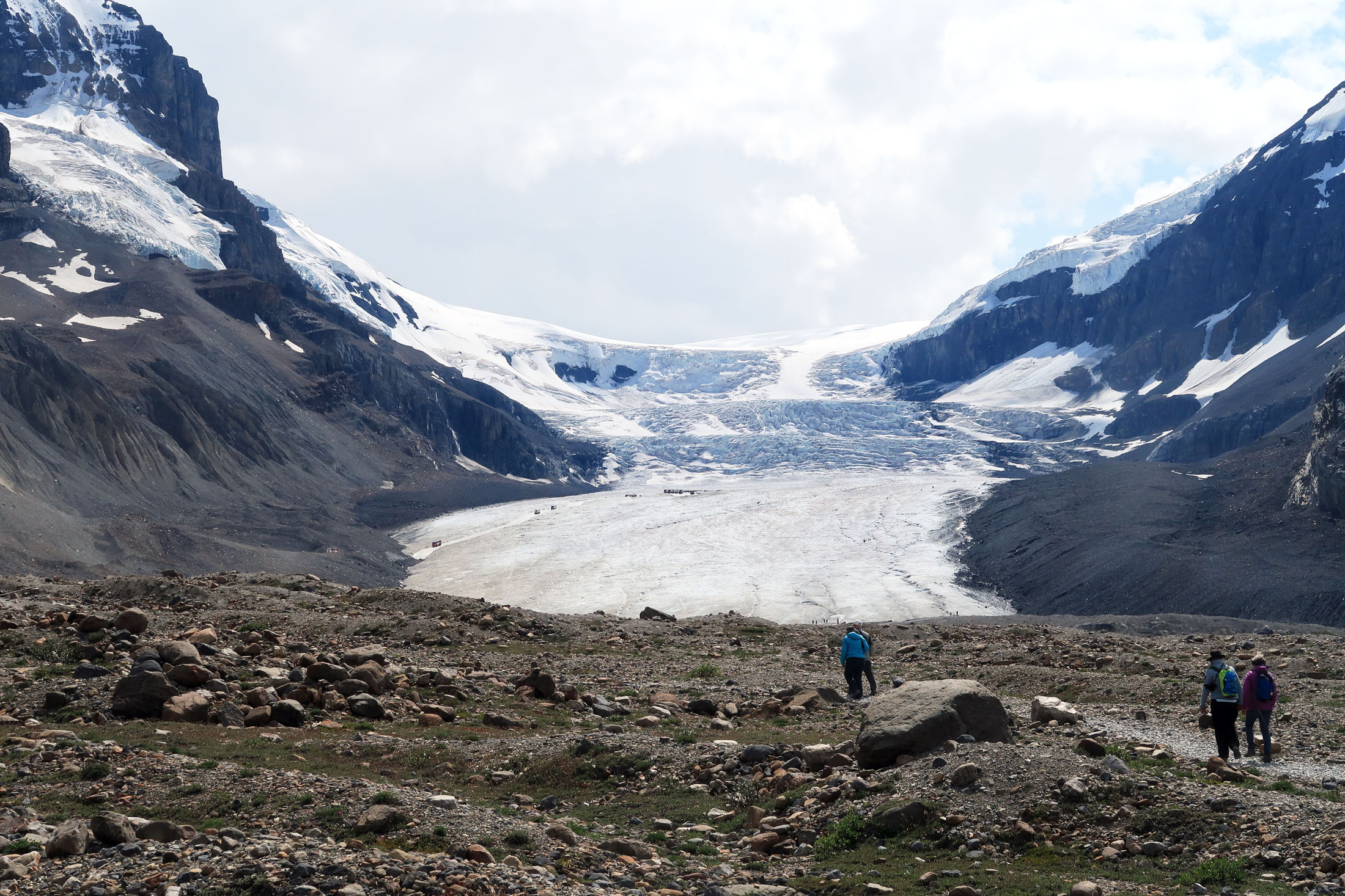 Some visitors choose to walk to the base of the Athabasca Glacier from a parking area off the Icefields Parkway. (Craig Davis/craigslegztravels.com)