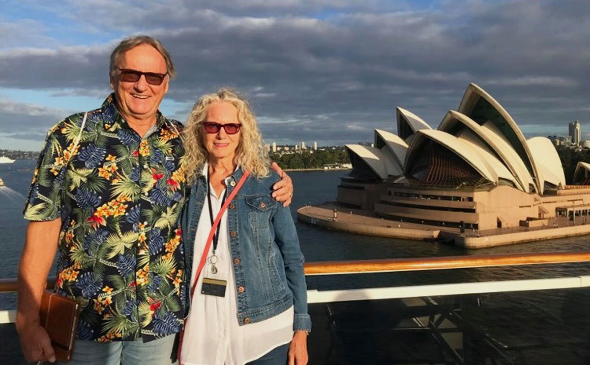 Michael and Cher Woywod aboard the MSC Magnifica in Sydney Harbor, where the planned part of the world cruise abruptly ended.