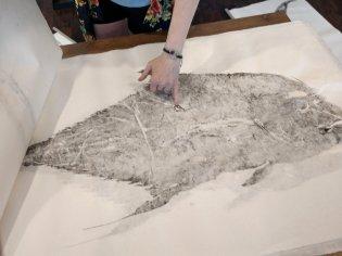 The Gyotaku process captures the mark where the African pompano was shot by a speargun. (Craig Davis, Craigslegztravels.com)