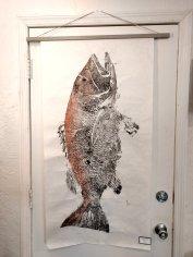 The Gyotaku process captures the mark where the cubera snapper was shot by a speargun. (Craig Davis, Craigslegztravels.com)