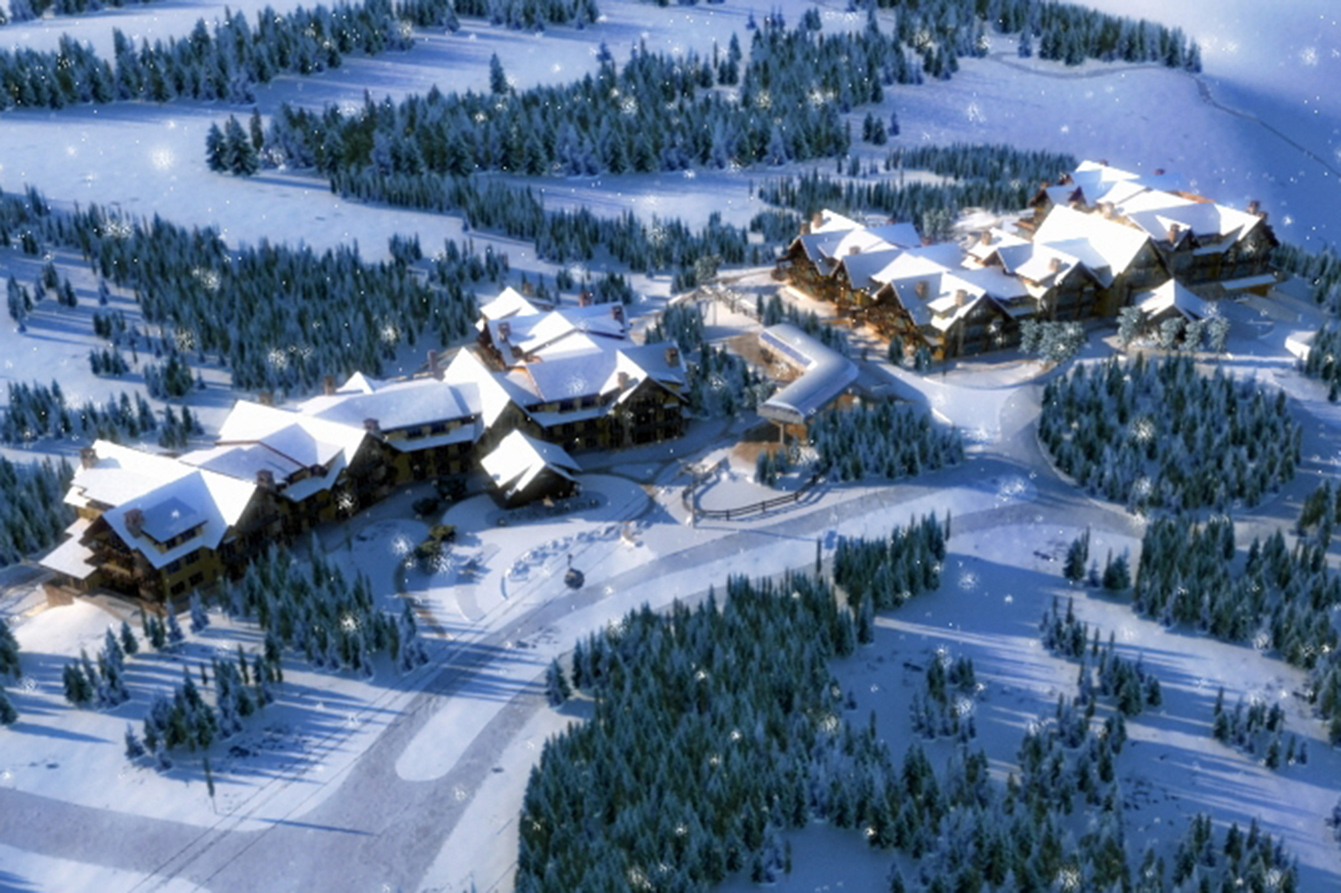 Snowfall on Breck Resort designed by Craine Architecture