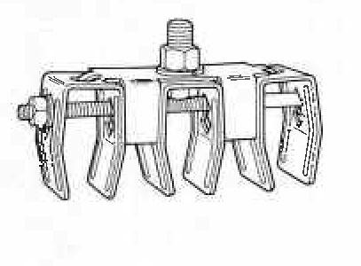 Item # B-100-2F3, Zinc Plated Steel Triple Hanger Assembly