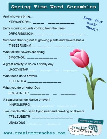 Wednesdays Words Spring Word Scramble  Cranium Crunches