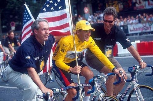 Thom Wiesel with some dude in yellow on a bike that used to be loved and adored by millions, I forget his name...