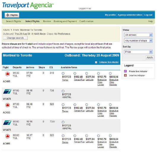 Travelport Agencia Fare Display